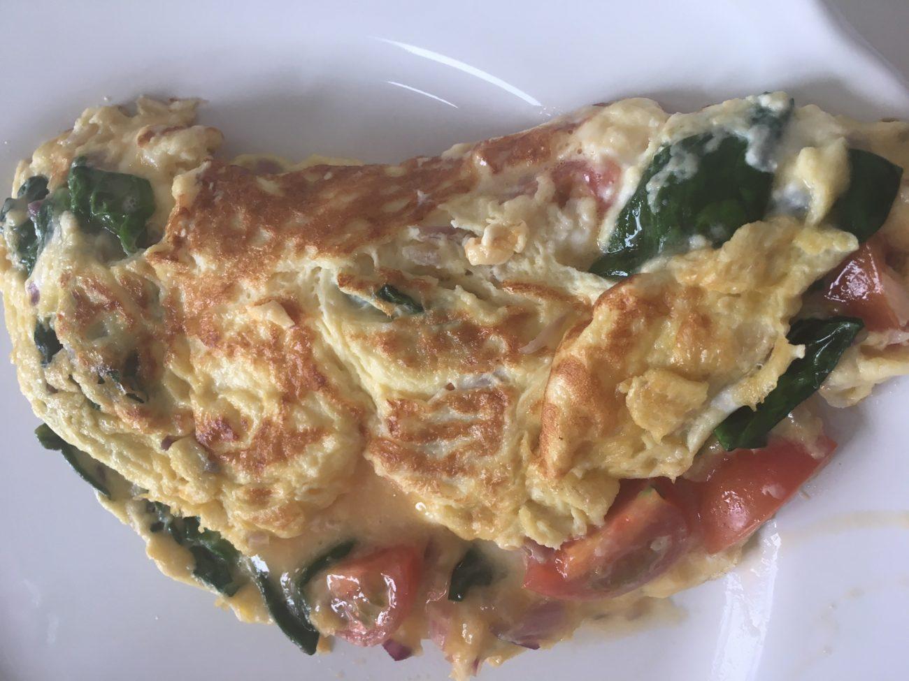 Omelett med Spenat och Ost
