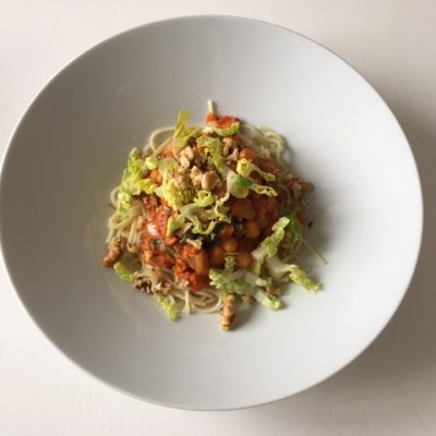 Kikärtspasta med tomatsås