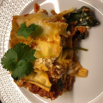 Vegetarisk lasagne med keso